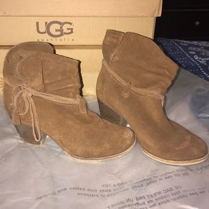 Short Brown Leather Booties